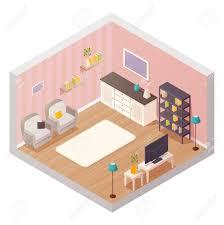isometrischen wohnzimmer interior design zusammensetzung mit comic ikonen möbel regale und pflanzen materialien vektor illustration