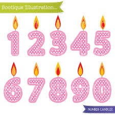 Pink Number Candles Clipart Girls Birthday Clipart Pink Candles Clip Art Girls Birthday Clipart Numbers Clipart Birthday Digital