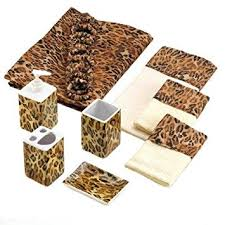amazon com leopard print bathroom accessories set bath ensemble