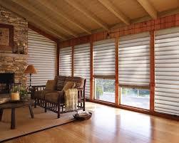 Shades Hunter Douglas Vignette Tiered Roman Angled Literise Rustic Livingroom