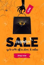 Halloween Sale Black And Orange Background Banner For Online Shopping Poster Design