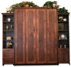 Rustic Brown Stained White Oak Wood Queen Murphy Bed Frame Which Integrated With Display Shelves Cabinet