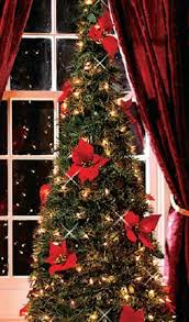 Instant Christmas Tree With Red Poinsettia Blossoms
