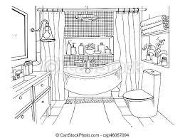 badezimmer illustration modern skizze vektor