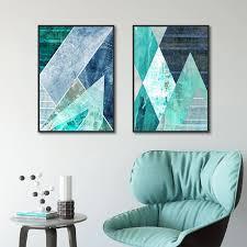 abstrakte geometrische türkis leinwand malerei nordic dekoration home wand bilder für wohnzimmer dekorative poster und drucke
