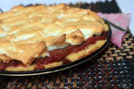 baise cuisine rhubarb pie with baiser stock photo picture and royalty free image