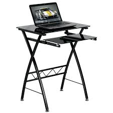 desk black glass computer home office desk corner pc table black
