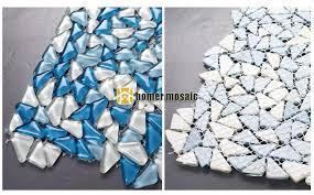 bulk particles blue glass mosaic tiles for living room