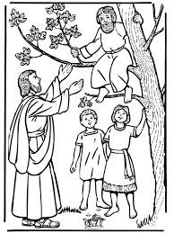 Bible Coloring Pages New Testament Zacchaeus And Jesus