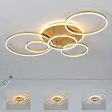 ring led deckenle dimmbare in gold 6 flammig runde design wohnzimmer le deko moderne deckenleuchte für schlafzimmer küche büro 108 watt