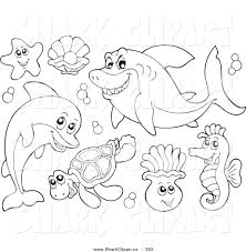 Digital Collage Of Coloring Page Outlines Sea Creatures