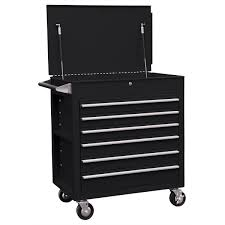6 Drawer Full Drawer Professional Duty Tool Cart - Black | Sunex ...