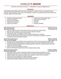Rep Retail Sales Resume Example