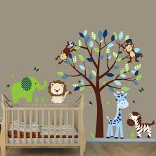 Wall Mural Decals Nursery by Green U0026 Blue Jungle Animal Wall Decals With Elephant Wall Decal