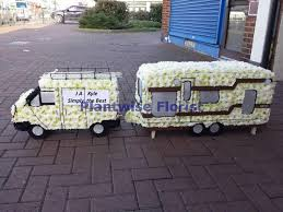 Large Size Transit Van Towing A Caravan Wreath For Travellers Gypsy Funeral Plantwise Florist