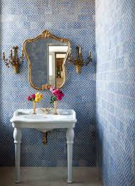 blue and white tile bathrooms