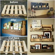 Pallet Wood In Diy Wall Designing Picture Fascinating Shelves Photograph With Rustic Living Room