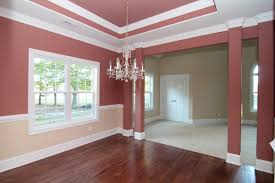 Columns In The Formal Dining Room With Trey Ceiling And Two Tone Paint