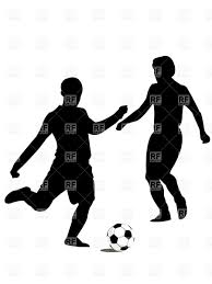 Soccer team players silhouettes of forwards Royalty Free Vector