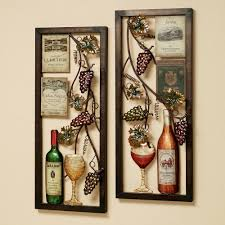 Divine Double Square Metal Artworks Wine And Bottles Kitchen Wall Decor Hang On Creamy Painted Ideas
