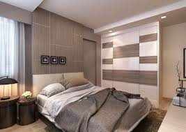 A Unifying Palette Of Warm Colours Common In Hotel Suites Sets The Sophisticated Tone This HDB Bedroom Touches Luxury Via Padded Headboard
