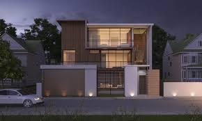 100 Modern Wooden Houses Wood House Night Scene 3D Model