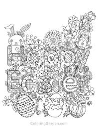 Free Printable Happy Easter Adult Coloring Page Download It In PDF Format At Coloringgarden