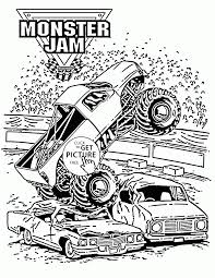 Smashing Monster Truck Jam Coloring Page For Kids Transportation Throughout