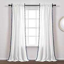 lush decor vorhang mit bommeln strukturiert einfarbig shabby chic stil für wohnzimmer esszimmer schlafzimmer einzel 248 x 50 cm weiß