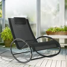 Details About Patio Rocking Lounge Chair Orbital Chaise Rocker Black