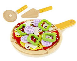 amazon com hape homemade wooden pizza play kitchen food set and