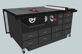 Sawstop Cabinet Saw Outfeed Table by My Cart Design In Sketchup Out Feed Table Down Woodworking
