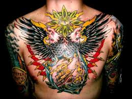 Flying Eagle And Colored Ship Chest Tattoo
