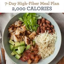 7 Day High Fiber Meal Plan 2000 Calories