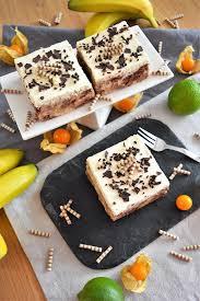 bananen keks pudding schnitten