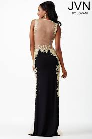 jovani jvn29102 evening dress jersey lace sides sheer back fit and