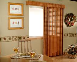 Marvelous Red Fabric Over Valance And Curtains Patio Door Window Treatments With Rounded Wooden Dining Table Sets As Well Portray Frame Wall