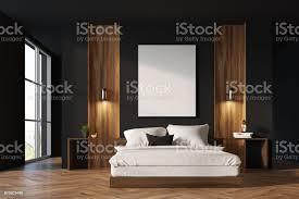 schwarz und aus holz schlafzimmer innenraum stockfoto und mehr bilder behaglich