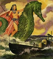 Warrior Woman On A Giant Seahorse Aka Fantastic Adventures Volume 13 No May Cover By Robert Gibson Jones