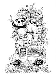 Free Coloring Page Funny Doode Art With Various Animals Characters ON A Car
