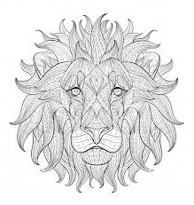 A Face Of Lion Adult Coloring Page