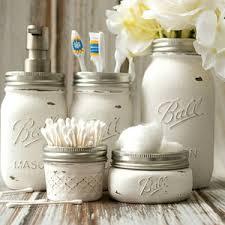 Mason Jar Bathroom Set Jars White Paint Clear Coat Sealant Soap Lid Converter Kit Flower Frog