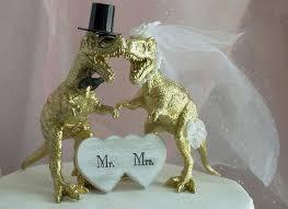 T Rex Dinosaur Wedding Cake Topper GOLD Animal Rustic Theme MrMrs Jurassic