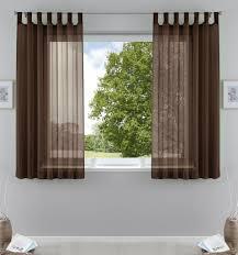 2er pack gardinen transparent vorhang set wohnzimmer voile schlaufenschal mit bleibandabschluß hxb 175x140 cm braun 61000cn