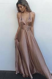 champagne satins v neck long evening dress summer dress with