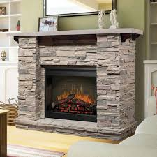 Natural Stone Framed Electric Fireplace With Wood Mantel