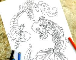 Steampunk Koi Fish Coloring Page Pages Japanese Pond