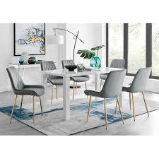 essgruppe brolin mit 6 stühlen perspections farbe stuhl grau goldfarben