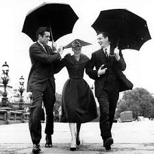 Suzy Parker Vintage 50s Model Fashion Umbrellas Two Men