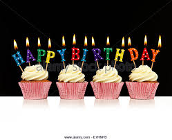 Cupcake with happy birthday candles Stock Image